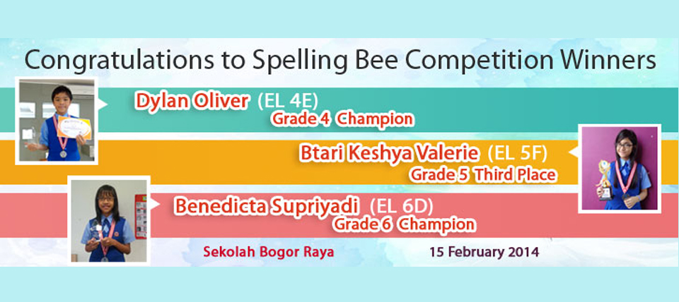 Congratulation to Spelling Bee Competition Winners