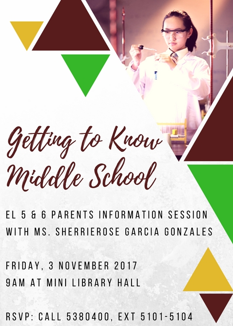 PARENT INFO SESSION - GETTING TO KNOW MIDDLE SCHOOL
