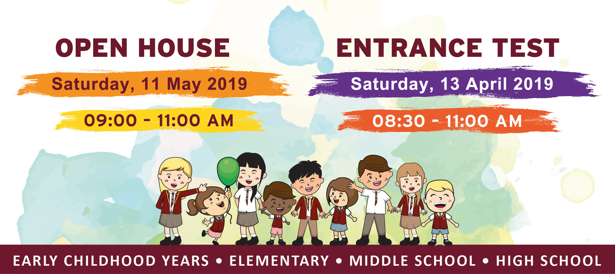 Open House 11 May and Entrance Test 13 April